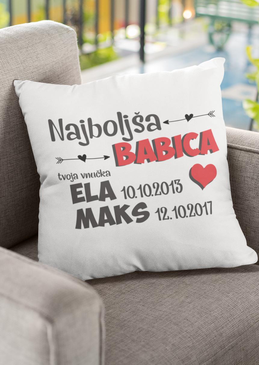 Blazina BABICA z imeni vnukov po želji