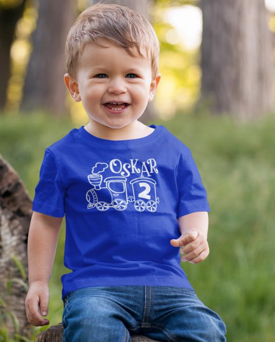 Smešna otroška majica IME PO ŽELJI vlakec LETA PO ŽELJI