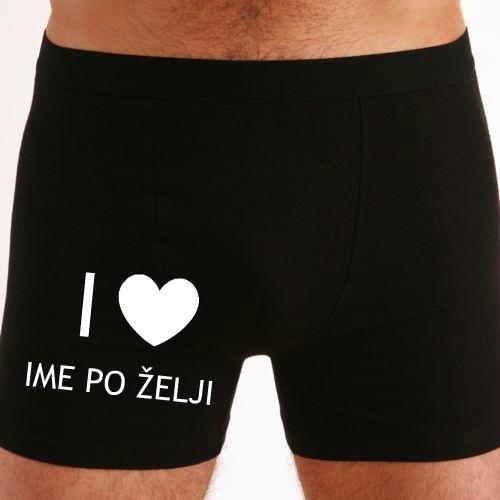 Moške boxer hlače I love ime po želji