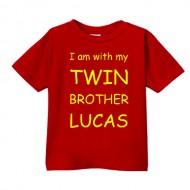 Smešna otroška majica I love my twin brother IME PO ŽELJI